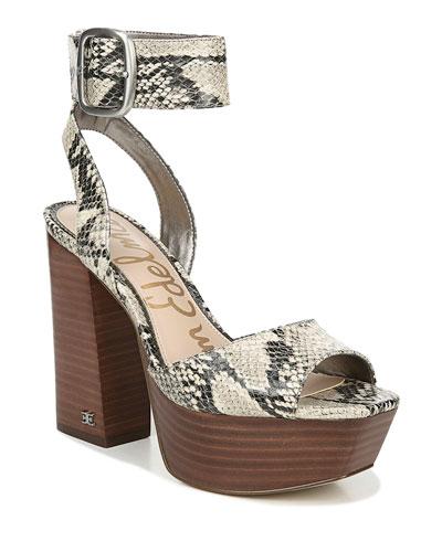 Rain Snake-Print Platform Sandals