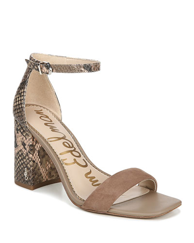 Daniella Mixed Leather Ankle Sandals
