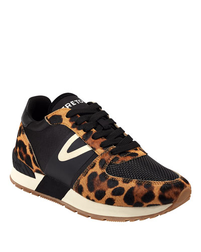 Loyola 10 Leopard-Print Fur Trainer Sneakers