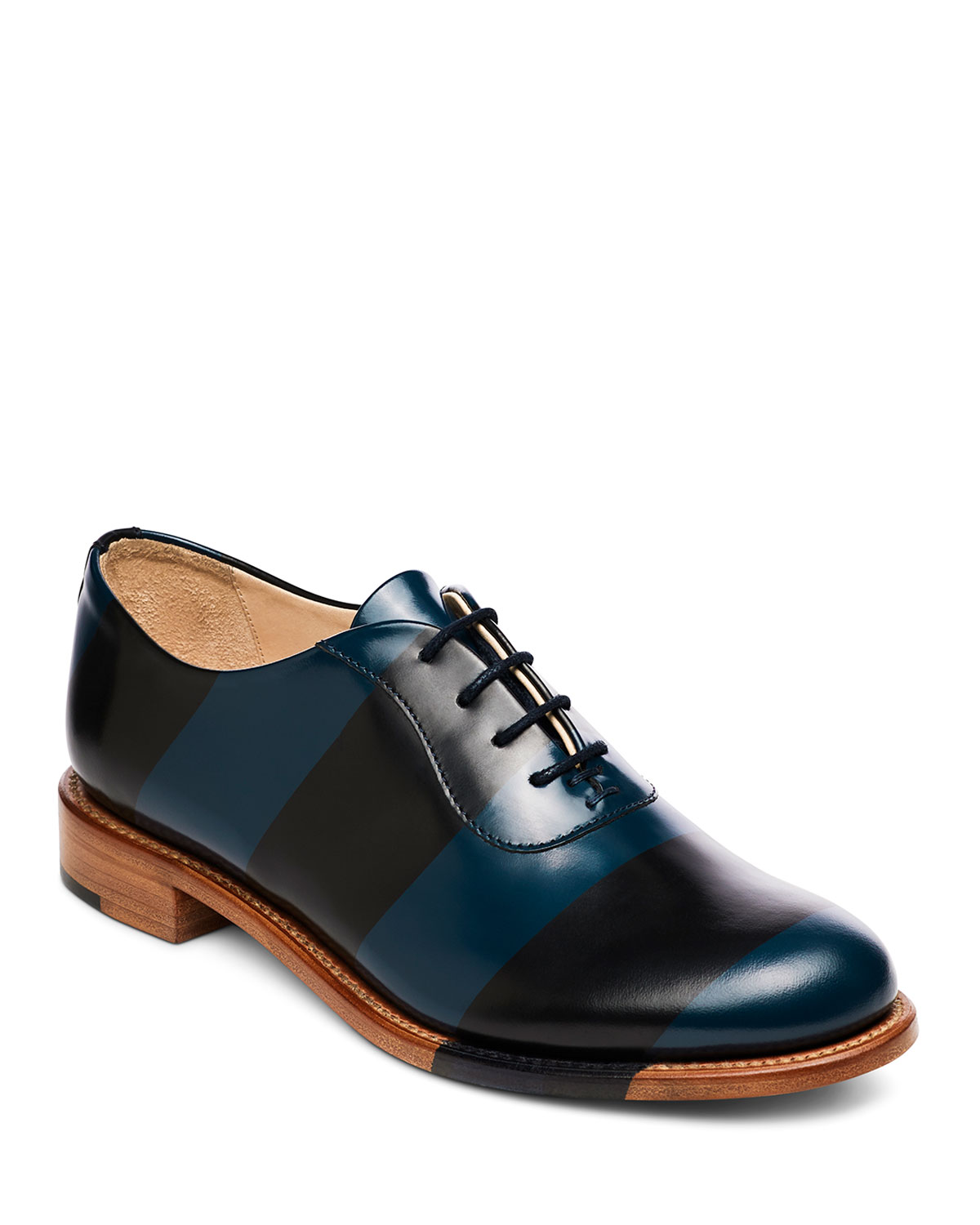 The Office Of Angela Scott MR. SMITH STRIPED LEATHER OXFORDS