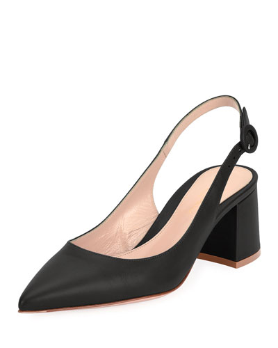 Leather Block-Heel Point-Toe Slingback Pumps