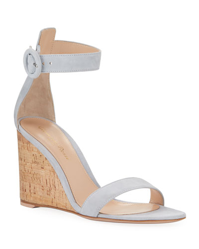Suede Cork-Wedge Sandals