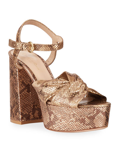 Knotted Metallic Snake-Print Platform Sandals