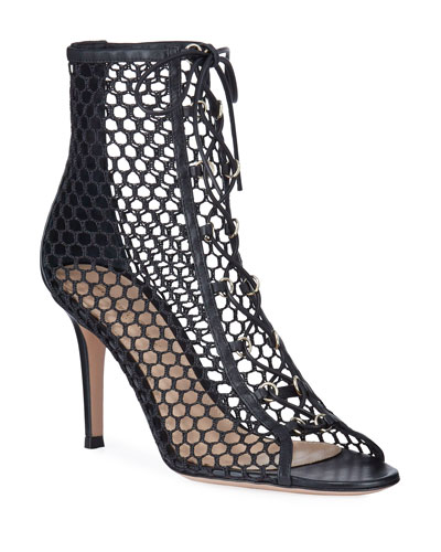 Open-Toe Fishnet Lace-Up Booties