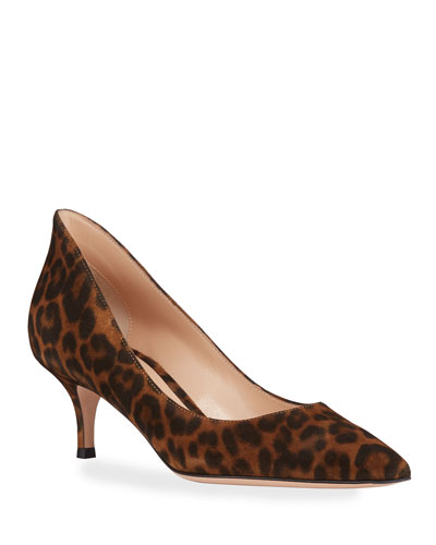 High-Back Leopard Suede Low-Heel Pumps