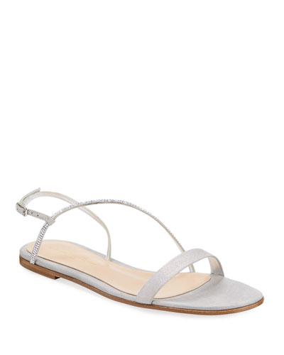 Flat Asymmetric Strass Sandals