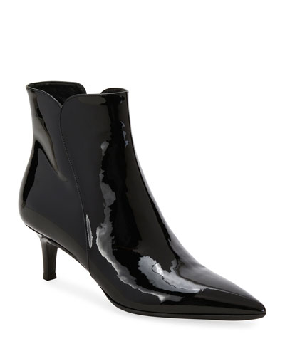 Patent Leather Pointed Zip Booties