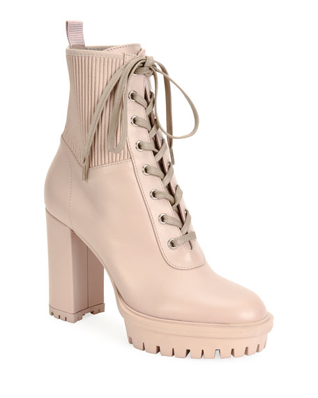 Gianvito Rossi Leather Stretch Platform Hiker Booties