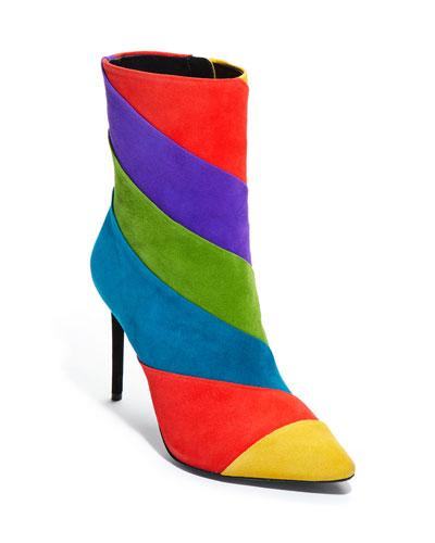 Claudia Rainbow Stiletto Booties