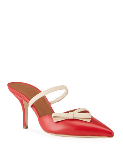 Jenna Two-Tone Leather Bow Mules
