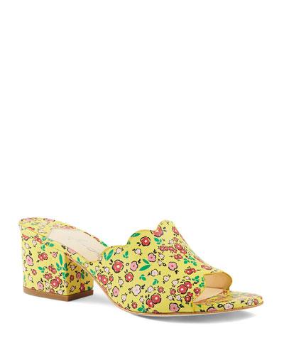 Chiqui Floral-Print Block-Heel Slide Sandals