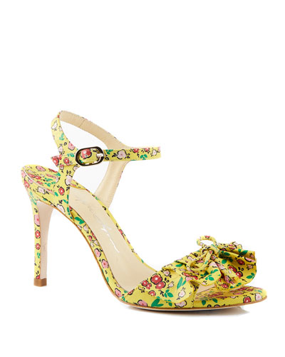 Evie Floral-Print High-Heel Sandals