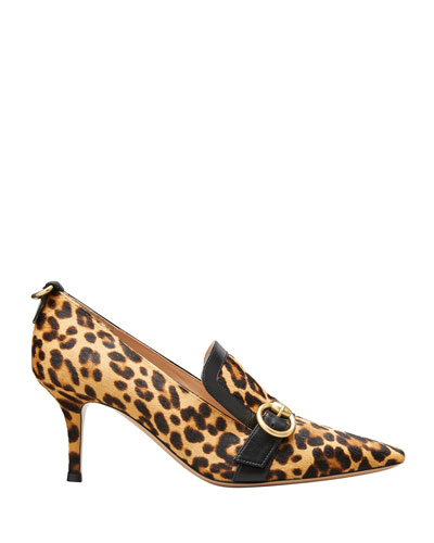 Leopard-Print Fur Loafer Pumps
