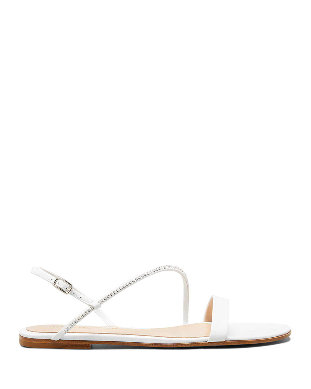 Asymmetric Leather Flat Sandals