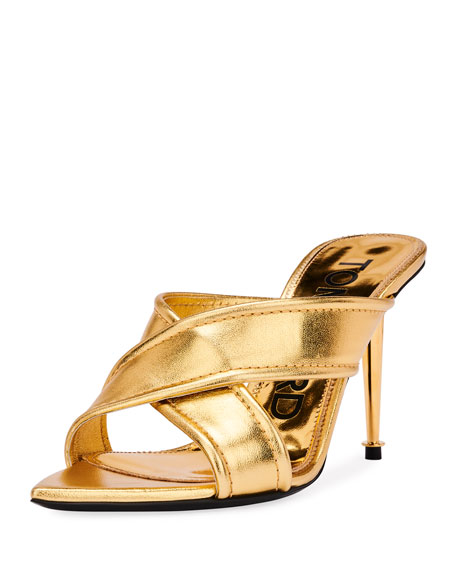 TOM FORD Metallic Crisscross Slide Sandals