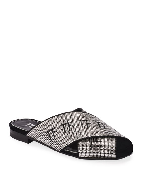 TOM FORD Flat Crisscross Crystal Sandals