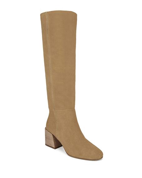 Via Spiga Desi Sport-Suede Knee Boots, Brown