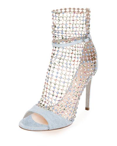 Denim Galaxia Crystal Booties