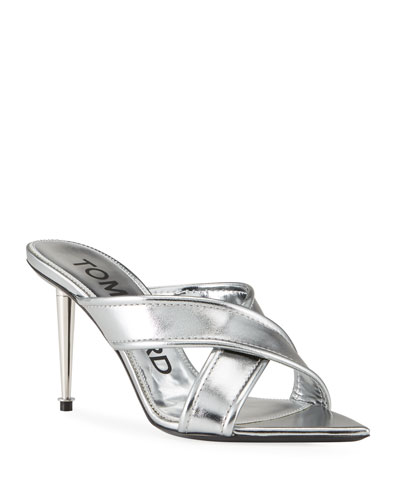 Metallic Crisscross Slide Sandals