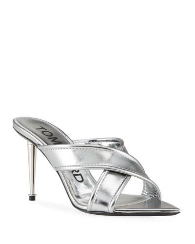Metallic Crisscross Slide Sandals