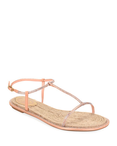 Crystal-Strap Flat Thong Sandals