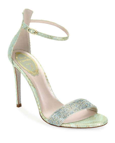 Rene Caovilla Python-Print Stiletto Cocktail Sandals