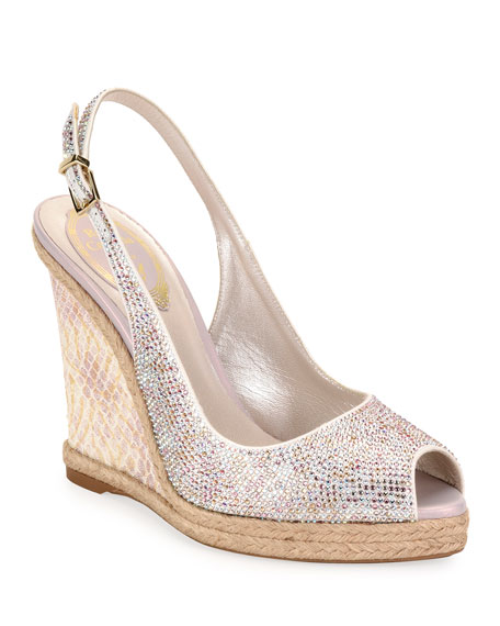 Rene Caovilla Beaded Espadrille Wedge Sandals