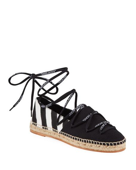 Off-White Shoelaces Diagonal Stripe Flat Espadrilles