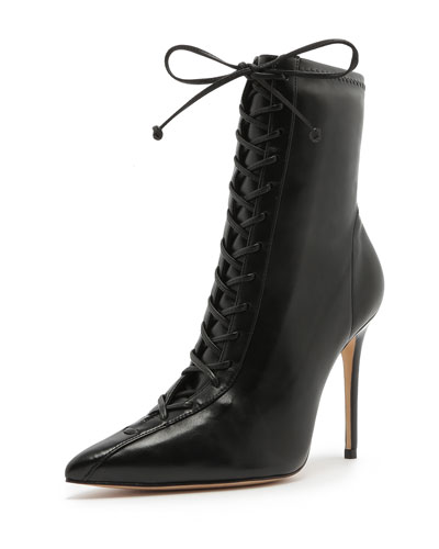 Black Lace Up Bootie   Neiman Marcus