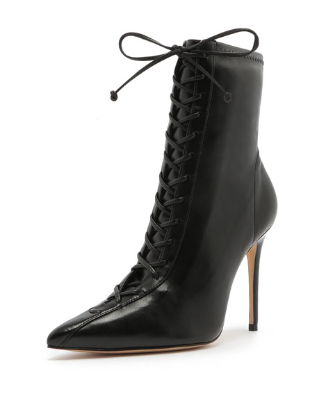 Schutz Tennie Point-Toe Lace-Up Boots