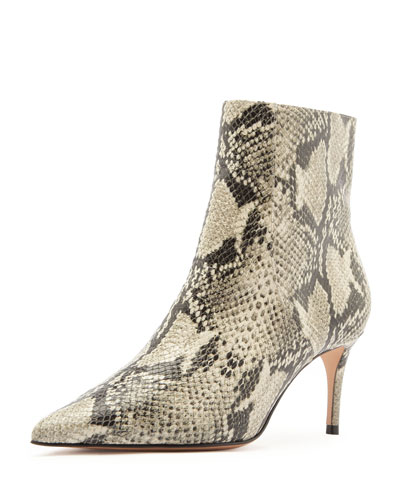 Bette Snake-Print Ankle Boots