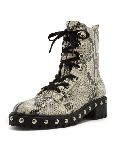 Andrea Studded Snake-Print Leather Combat Boots