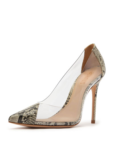 Cendi See-Through Vinyl & Leather Pumps