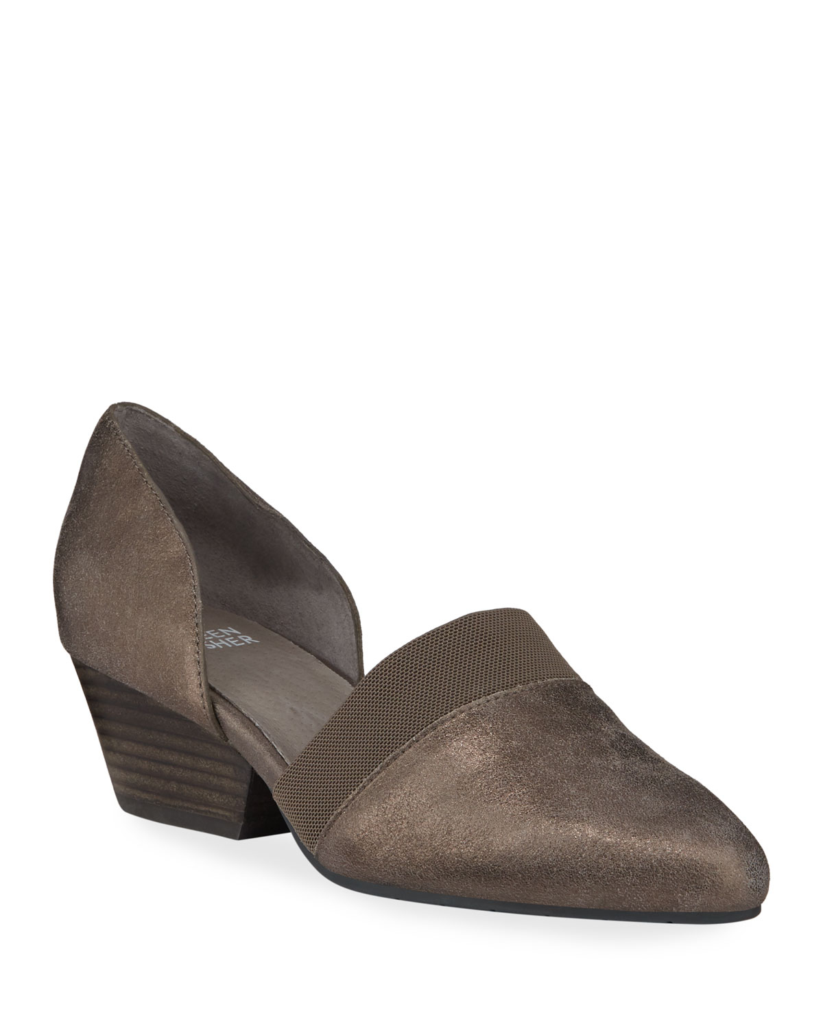 Hilly Easy Metallic Leather Demi-Wedge Pumps