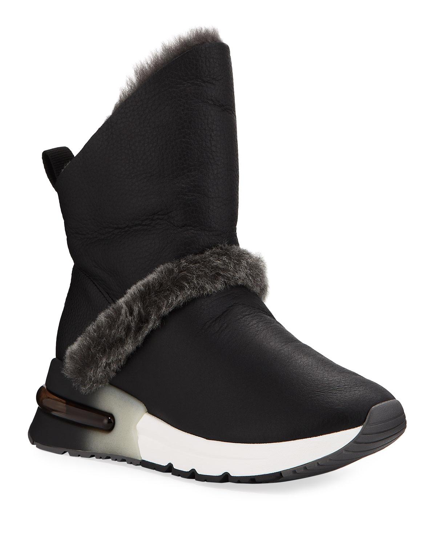 Kilma Napa Leather Sneakers w/ Shearling Trim