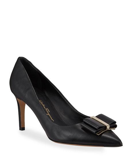 Salvatore Ferragamo Zeri Mid-Heel Leather Bow Pumps