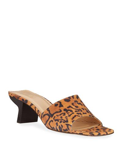 Lily Leopard-Print Suede Slide Sandals
