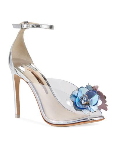 Cindy Metallic Floral Sandals