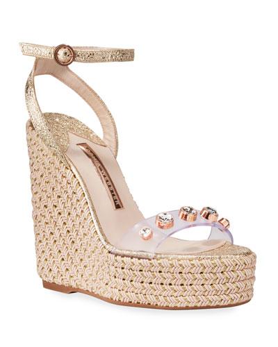 Dina Gem Crackle Espadrille Sandals