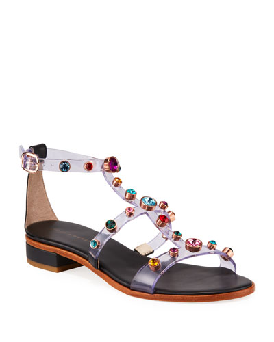 Dina Gem Studded Flat Sandals