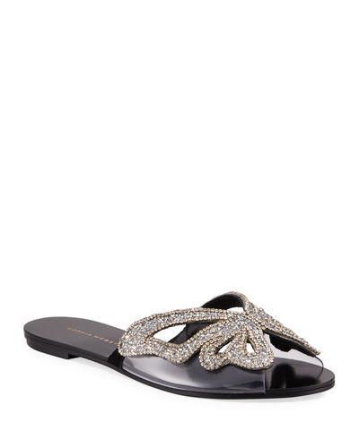 Madame Butterfly Crystal Flat Slide Sandals