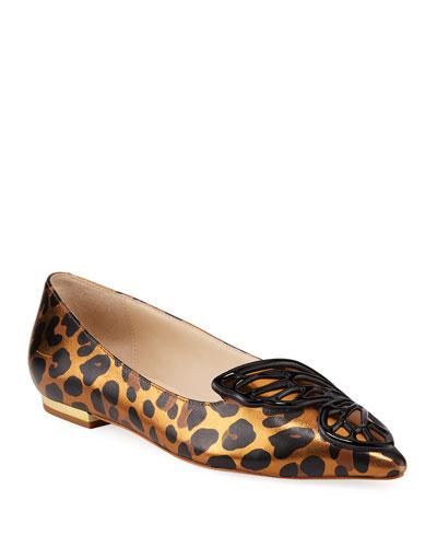 Butterfly Metallic Leopard Ballet Flats