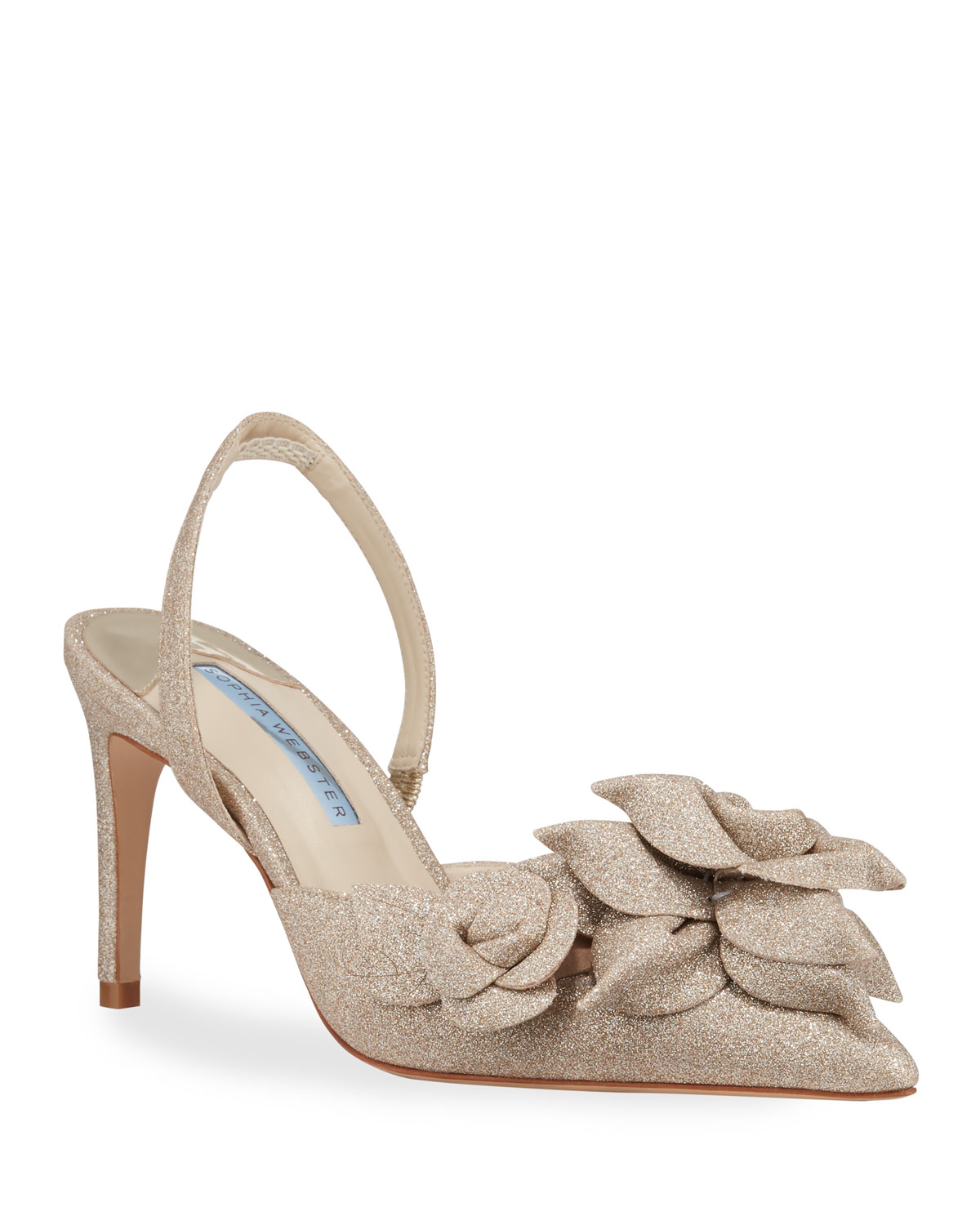 Sophia Webster Jumbo Lilico Mid Slingback Pumps In Champagne
