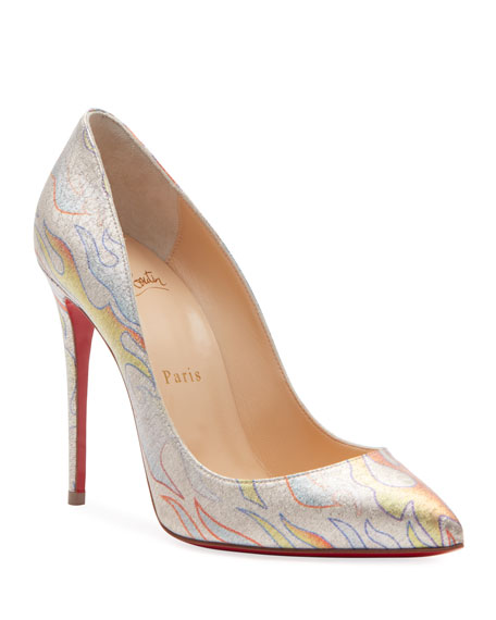 Christian Louboutin Pigalle Follies 100 Lurex Flame Red Sole Pumps