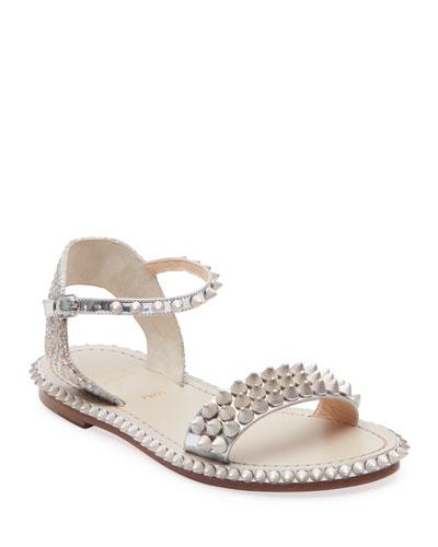 Cordorella Metallic Spike Flat Red Sole Sandals