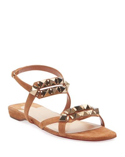 Galerietta Flat Suede Red Sole Sandals