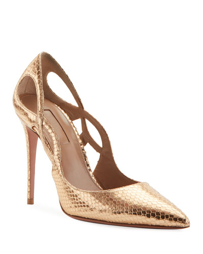 Forever Metallic Snake-Print Pumps