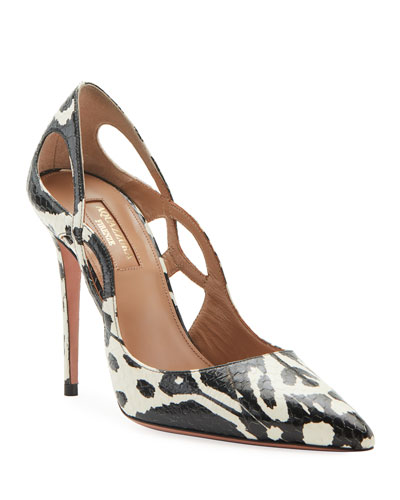 Forever Snakeskin Point-Toe Pumps