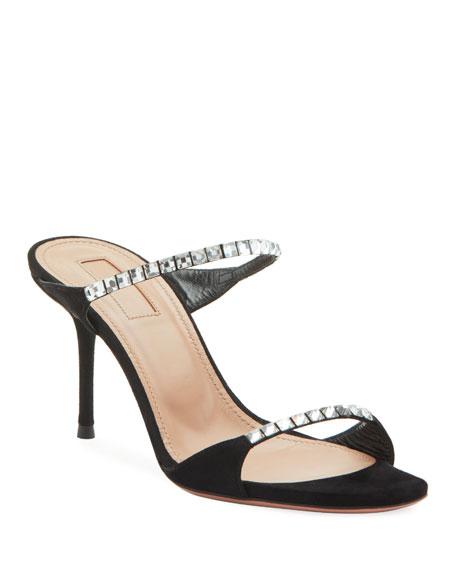 Aquazzura Diamante Crystal Suede Slide Sandals