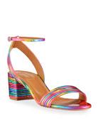 Aquazzura Sundance Disco Rainbow Block-Heel Sandals